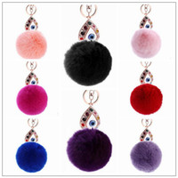 Wholesale rabbit hair handbags for sale - 11 Colors cm Women Rabbit Hair Fur Ball Keychain Water Drops Eyes Girl Handbag Accessories Key Chain Pompom Bag Accessory CCA9033