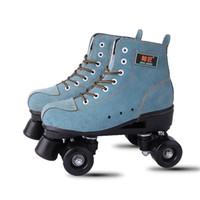 iki tekerlekli paten toptan satış-Japy Yapay Deri Paten Yeşil Çift Çizgi Paten Erkekler Siyah PU 4 Wheels Ile Yetişkin Iki Hattı Paten Ayakkabı Patines