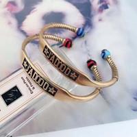 chamilia jewelry großhandel-New Luxury Brand Letters Armreif Retro Bronze Farbe Öffnen Armband Chamilia Perlen Armband Frauen Mädchen Partei Schmuck Zubehör