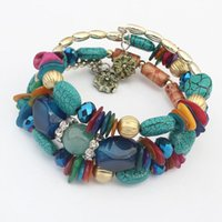 Wholesale wrapped bead bracelet resale online - DHL Multi layers Bohemian Simulation Turquoise Stretch Wrap Bracelet for Women Retro Crystal Charm Beads Bracelet NT
