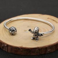 ingrosso braccialetto d'argento dorato di scheletro-Gioielli personalizzati in argento sterling 925 realizzati a mano con design a forma di croce in stile Skeleton, bracciale regolabile per donna