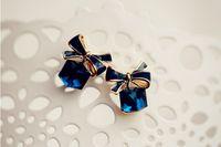 ingrosso orecchini di prua blu-Moda di alta qualità 2018 Chic Shimmer nodo ad arco Cubic Green Blue Orecchini di cristallo con strass Orecchini per le donne pendientes