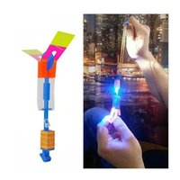 Wholesale Led For Decoration Lighting - Amazing Flashing Led Arrow Rocket Helicopter Rotating Flying Toys Light Up For Kids Party Decoration Gift DDA341