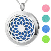 Wholesale Plain Perfume - 10pcs 30mm plain Lotus Flower Aromatherapy Essential Oil surgical Stainless Steel Perfume Diffuser Necklace Locket with chain Free 20pcs pad