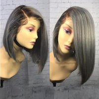 Wholesale bob wig grey color online - MHAZEL short bob straight dark roots inch black b two tone dark grey synthetic glueless wig inch