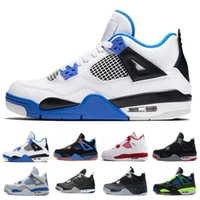 Wholesale pure races - Top 4 Motosports Basketball Shoes For men Royal blue racing blue white red Pure Money 4s Discount Sports Sneakers US 7-13