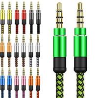 автомобильный mp3-разъем оптовых-1.5 м оплетки Aux кабель непрерывный металлический разъем 3,5 мм между мужчинами автомобиля аудио расширение вспомогательный Плетеный кабель для мобильного телефона mp3 спикер