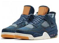 Wholesale High Quality Denim Jeans - 2017 4s Denim Blue Jeans Travis Basketball Shoes Men 4s Denim LS Blue Jeans Sports Shoes Sneakers High Quality With Box