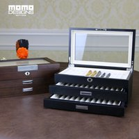 holzstift bleistift box großhandel-Holz Stift Box für 12-60 Stück Pen Collection Display und Holz Aufbewahrungsbox für Herren Geschenk HIGH END Qualität Bleistift Aufbewahrungsbox