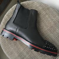 botines de pinchos con tachuelas al por mayor-Nuevos hombres de la llegada tachonados Spikes Toe Red Bottoms Boots Diseñador de la marca Negro cuero genuino High Top otoño invierno botines 39-46