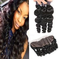 Wholesale human hair shipping resale online - A Brazilian Loose Wave Bundles With Lace Frontal Peruvian Malaysian Indian Virgin Human hair Extensions