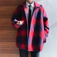 ingrosso prezzo di lana di cotone-2018 Ultimi uomini d'inverno tuta da lavoro Gioventù stile giapponese plaid moda classica basso prezzo sconto sciolto lana di cotone trincea