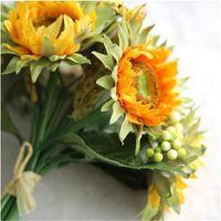 cabeças de girassóis artificiais venda por atacado-Girassóis artificiais 5 cabeças de beleza falso girassol artificial buquê de flores de seda para casa de casamento decoração Floral Drop Shipping