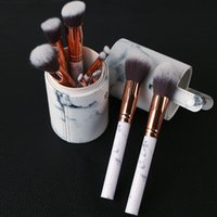 Wholesale Bb Professionals - Newest Hot Sale 10pcs Marble Makeup Brush Professional MakeUp Brushes Foundation BB Cream Hiqh Quality With PU Bucket FREE shipping
