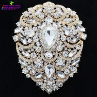 broche grande pulgadas al por mayor-Gran broche de perlas nupcial joyería de la boda 4.9 pulgadas Rhinestone Crystal mujeres accesorios de joyería 4045