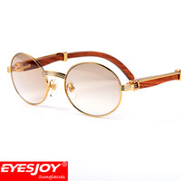 Wholesale reading glasses round - Sunglasses brand designer prescription wood clear glasses myopia optical reading glasses 18k gold plated frame wood sunglasses for women men