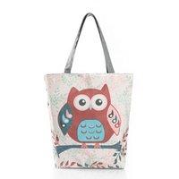 organizador de cosas de mujeres al por mayor-2018 Owl pattern shopping bag mujer cremallera Tote stuff bag bolso femenino organizador del artículo estilo americano europeo