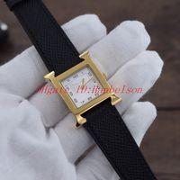 vigiar a mão das mulheres venda por atacado-Moda montre lu H mulheres relógio quadrado de aço dourado shell pulseira de couro preto mostrador branco duas mãos movimento de quartzo relógio de pulso das senhoras 26 milímetros