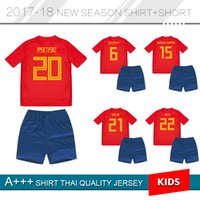 Wholesale Kids Shirts Sale - 2018 World Cup Spain kids Jersey 18 19 ISCO PIQUE SERGIO THIAGO MORATA home soccer shirt Football uniforms sales Spain kit