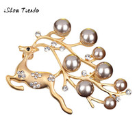 Wholesale Crystal Elk - Christmas Elk Silver Plated Crystal Diamand Pearl Center Bow Brooch Kerst Decoratie Christmas Decorations for Home Bedroom
