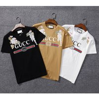 Wholesale fashion clothing summer youth - Summer Fashion Polo pullover t shirt Designer Brand flower embroidery 3d print Dragonfly Short-Sleeved T-shirt Men's Clothing Youth g33