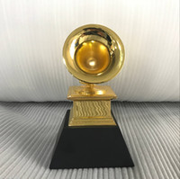 Wholesale statues resale online - Grammy Award Gramophone Metal Trophy Scale Size NARAS Music Souvenirs Award Statue with baclk base