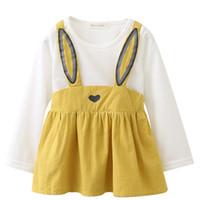 ayı lideri toptan satış-Ayı Lideri Bunny Kemer Etekler Bebek Bebek Kız Tavşan Kulaklar Tasarım Baskılı Tulum Uzun Kollu Üstleri Elbiseler Sonbahar Pamuk Giyim Setleri