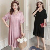 шифон прямое платье оптовых-V-образным вырезом с оборками рукава плиссированные шифоновые платья для беременных лето корейской моде прямая одежда для беременных беременных