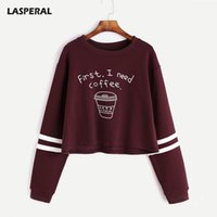 Wholesale first coffee - Lasperal Letter Print First I Need Coffee Hoodies Women 2018 Autumn Fashion Long Sleeve Casual Cropped Sweatshirt Pullover Tops