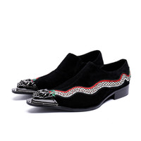 Wholesale wedding dress dragon embroidery resale online - Luxury Handmade Men Oxford Shoes Metal Pointed Toe Black Suede Genuine Leather Men Shoes Embroidery Dragon