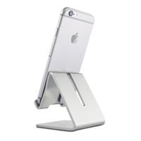 aluminium telefonhalter großhandel-2018 Aluminium Metall Metall Schreibtisch Halterung Halter Universal Anti-Rutsch-Telefonhalter für Smart Handy und Tablet Auto Telefon Halter