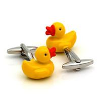 süs ördek toptan satış-Sarı Ördek Tasarım Kol Düğmeleri Erkekler için Fantezi Hediyeler Kişiselleştirilmiş Kol Düğmeleri Düğün Kol Düğmeleri İş Kol Düğmeleri Takı