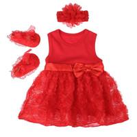 rote babykleidschuhe großhandel-3 stücke Neugeborenen Baby Mädchen Kleidung Set Rot Ärmelloses Kleid Schuhe Stirnband Geburtstag Party Kleid Sommer Kinder Party Outfits Geschenk Heißer