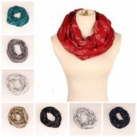 Wholesale infinity scarves for sale - 8 colors Musical Notes winter Infinity Scarf Women music shawls and scarves foulard bufandas mujer echarpes foulards female MMA456