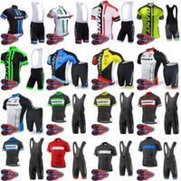 pantalones cortos de ciclismo gigante al por mayor-Al por mayor-GIANT equipo de ciclismo de manga corta jersey (babero) pantalones cortos establece 9D gel pad Top Brand Quality Bike sportwear D1627