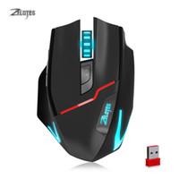 fio sem fios para rato venda por atacado-ZELOTES F-18 Dual-mode Gaming Mouse 3200 DPI Com Fio / 2.4 Ghz Sem Fio Recarregável Mouse de 7 cores Luz Respiração Círculo