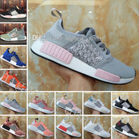 Wholesale Cheap Womens Designer Shoes - Cheap New Womens NMD R1 Sequins Triples Runner Primeknit Grey Pink Black White NMDS Running Shoes Training Sneakers women Nmd Designer Shoes