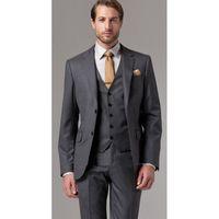 koyu gri düğün kravat toptan satış-Yüksek Kalite Iki Buon Koyu Gri Damat Smokin Notch Yaka Groomsmen İyi Adam Erkek Düğün Suit (Ceket + Pantolon + Yelek + Kravat) W: 203