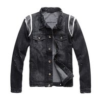 Wholesale punk clothing patterns for sale - Group buy Denim Jacket Motorbike Jean Coat Jackets Mens Womens Jean Clothing Slim Fit Hip Hop Punk Streetwear Denim Jacket Street