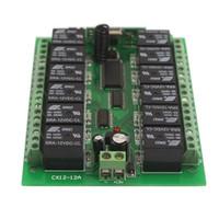 receptor de canal rf al por mayor-Súper DC 12V 12 CH Channel Relay Transmisor de interruptor de control remoto inalámbrico RF + receptor envío gratis