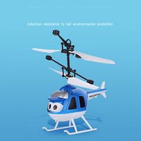 Wholesale Toy Helicopters Yellow Plastic - Hot light suspension remote control helicopter induction vehicle small yellow children 's toys wholesale