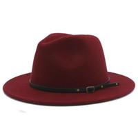 Wholesale cap felt resale online - 100 Wool Women Outback Felt Gangster Trilby Fedora Hat With Wide Brim Jazz Godfather Cap Szie CM X18