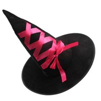 Wholesale Masquerade Hats - Halloween Witch Hat Decoration Snip Toe Witch Hats Masquerade Flannel Tape Festive Party (Random Color)