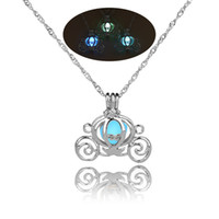 Wholesale Mens Jewelry Pendants Necklaces - 2018 Retro Hollow Pumpkin Car Glow in the Dark necklace Silver Chain Jewelry luminous Pendants For Mens Punk cute Necklace 162655
