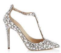 zapatos de fiesta mujer diamantes al por mayor-Luxury Diamond Wedding Jewelled Heel Gladiator Sandals Women Rhinestone Crystal Embellished T Strap Summer Party Sandalias Zapatos
