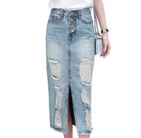 Mode frühjahr herbst frauen Kühlen fischschwanz röcke lässig hohe taille lange maxi röcke weibliche blue jeans rock denim lange röcke