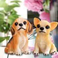 ornamento de cão de resina venda por atacado-Simulação Decoração Do Cão Artesanato de Resina Decorações Casa Simulação Estátua Do Cão Artesanato Enfeites Mornos Brinquedos Infantis 1 pcs