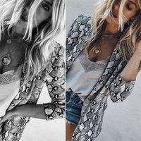 ingrosso polveri di cotone-Womens Casual manica lunga Snakeskin Stampa Leopard Coat aperto Front Office Duster Blazer Suit Cotton oversize DHL Outwear Jacket Coat