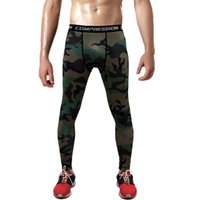 Wholesale camouflage leggins - Hot Sale Men's Sports Leggins Pro Compression Pants Camouflage Print High Elastic Running Tights Basketball Leggings Plus size 3XL