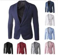 xxl korece giyim toptan satış-Toptan Satış - Toptan-Yeni Geliş Tek Düğme Boş Blazers Erkekler Erkek 2014 Kore Moda Slim Fit Casual Kırmızı Lacivert Blazer Giyim M-XXL